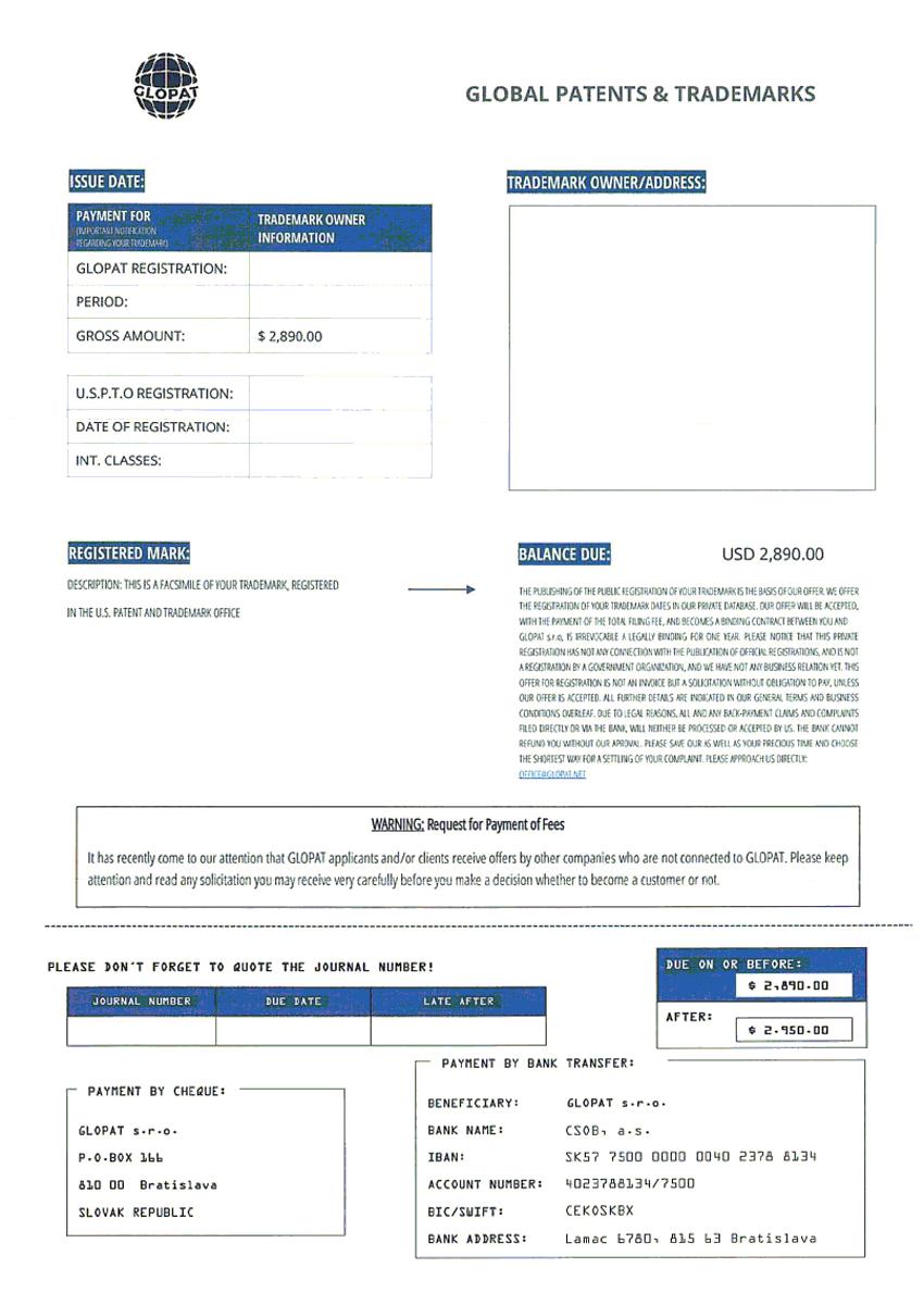 WIPO公開の公的機関通知に似せた振り込め詐欺通知例1